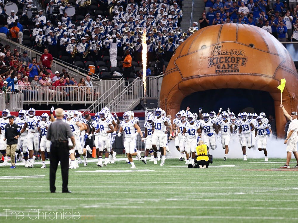 Duke Football played Alabama at the 2019 Chick-fil-A Kickoff Game at the Mercedes-Benz Stadium in Atlanta, Georgia. Final score was 3-42, with Alabama winning the Old Leather Helmet.