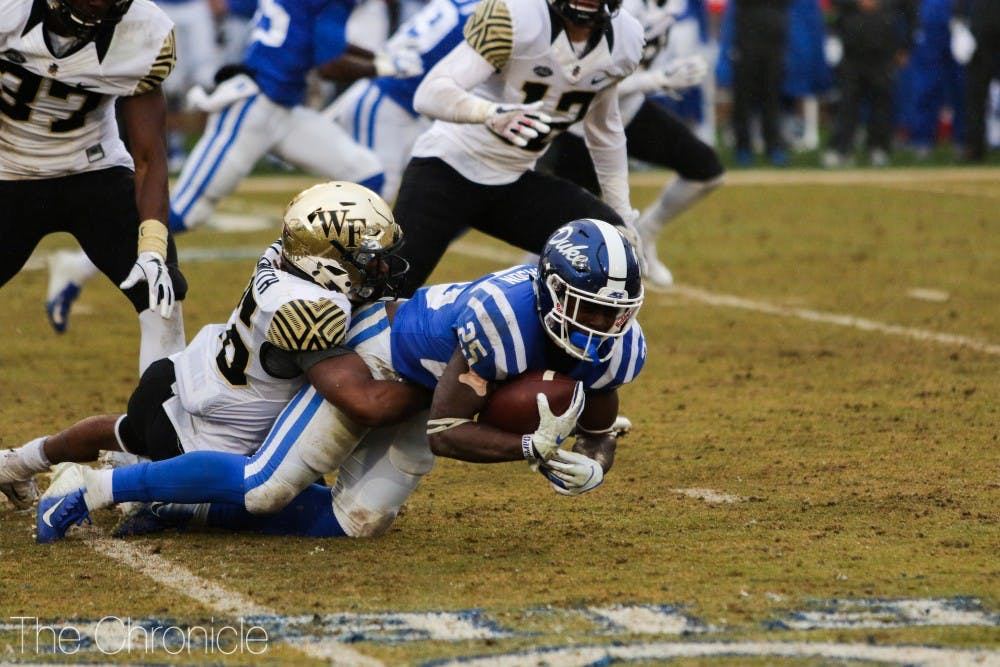 <p>Duke could not get its rushing offense going on a rainy day in Durham.&nbsp;</p>
