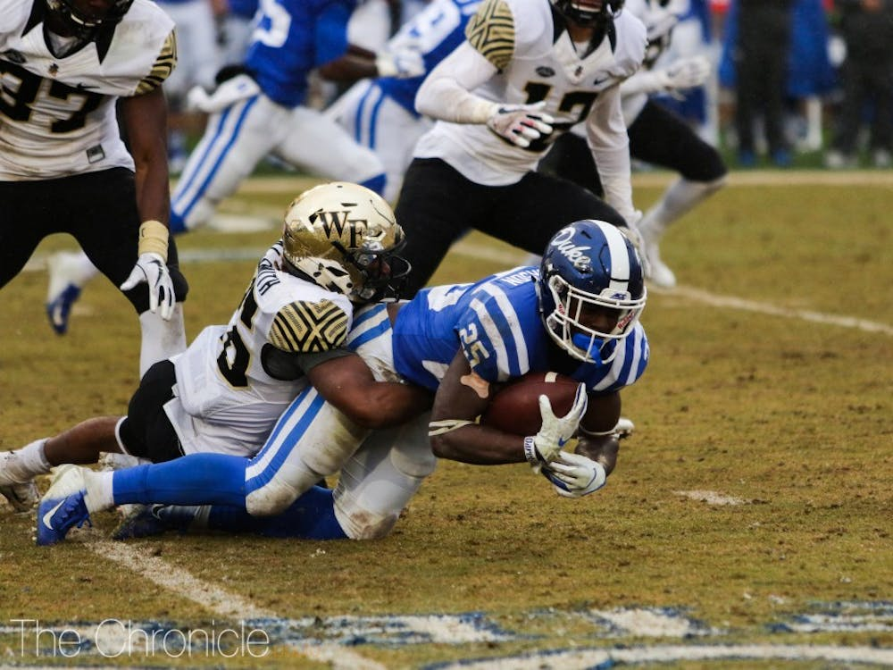 Duke could not get its rushing offense going on a rainy day in Durham.