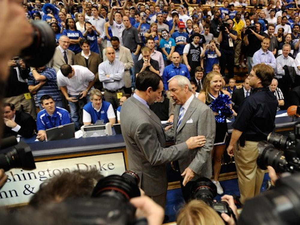 The last time Mike Krzyzewski and Roy Williams met at center court in Cameron Indoor Stadium, the Tar Heels had come away victorious.