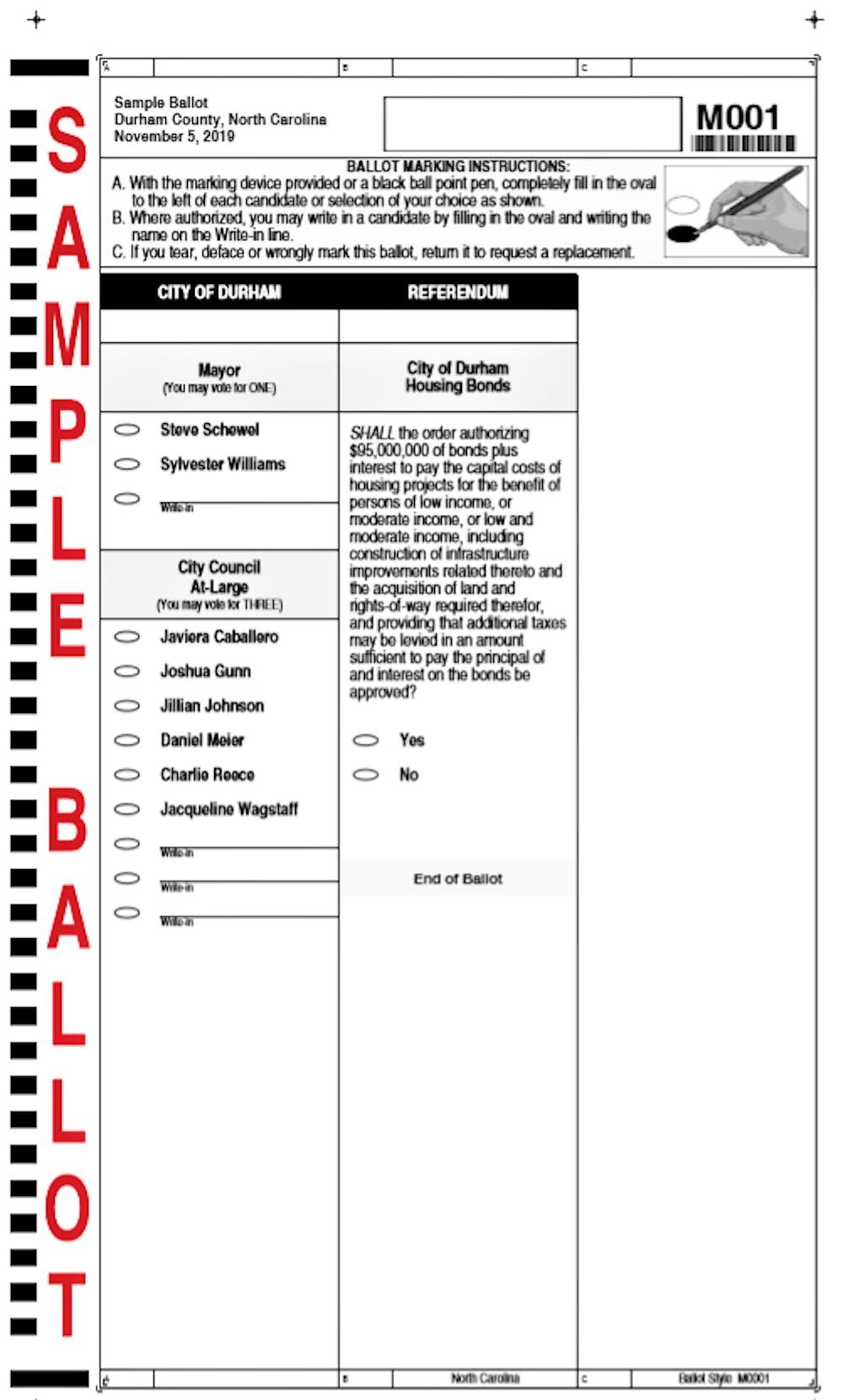 A sample ballot for the Durham municipal election.