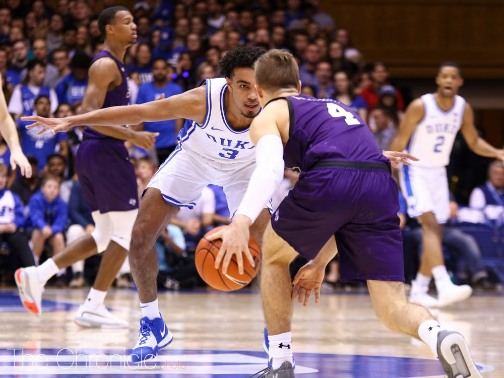 <p>Tre Jones is tasked with defending Cassius Winston Tuesday night.</p>