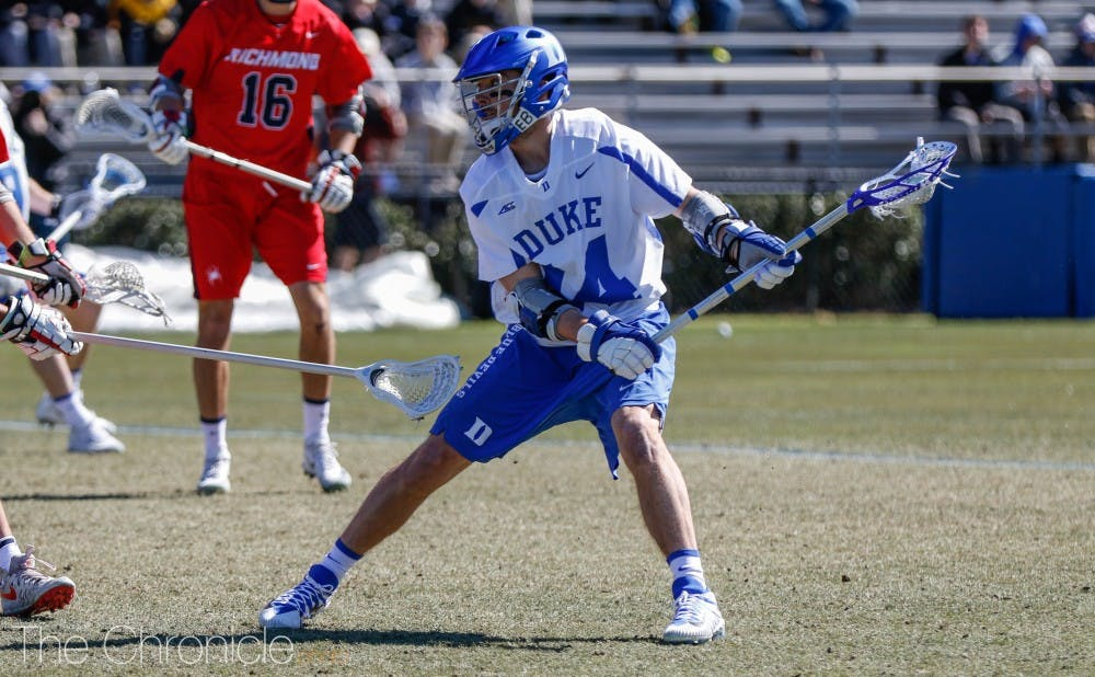 <p>Justin Guterding's two goals would not be enough for Duke against Notre Dame Friday.</p>