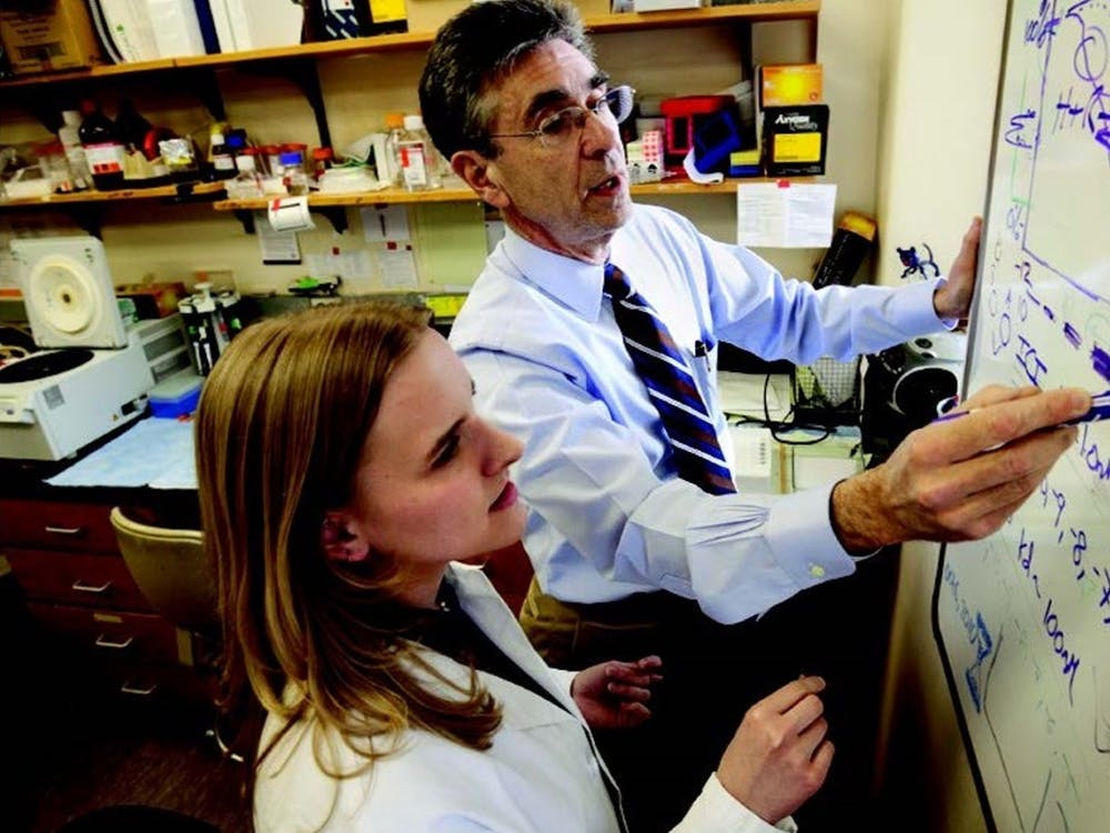 Robert Lefkowitz (right) shared the 2012 Nobel Prize in Chemistry with his mentee Brian Kobilka (not pictured).