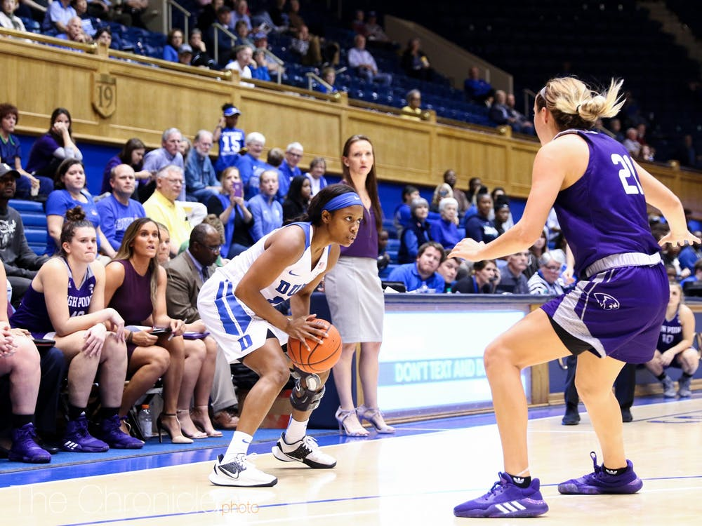 Duke Women's Basketball played High Point in Cameron on November 5, 2019. Duke won the contest with a final score of 93-57. Duke will next face No.6 Texas A&M on the road on November 10, 2019.  Photos of the game were taken by Eric Wei and Rebecca Schneid.