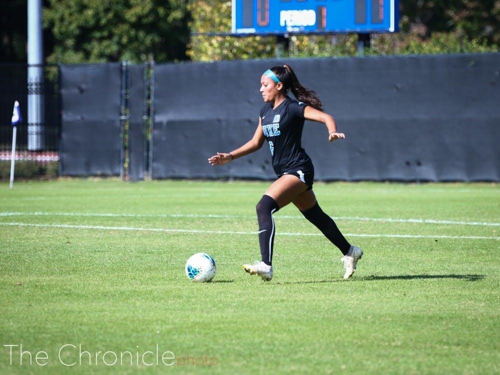 Women's soccer defender Caitlin Cosme helped stretch Duke's scoring margin to 12 over its 5-0-0 start.