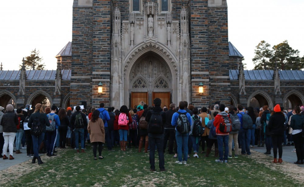 <p>Approximately 250 people attended the protest in front of the Chapel.&nbsp;</p>