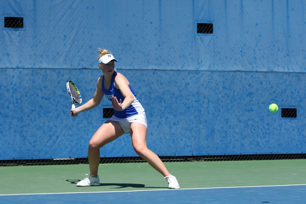 <p>Freshman Kaitlyn McCarthy was one of five Blue Devils to close out a singles match in straight sets, dispatching No. 89 Lexi Borr 6-0, 6-2 on court two.</p>