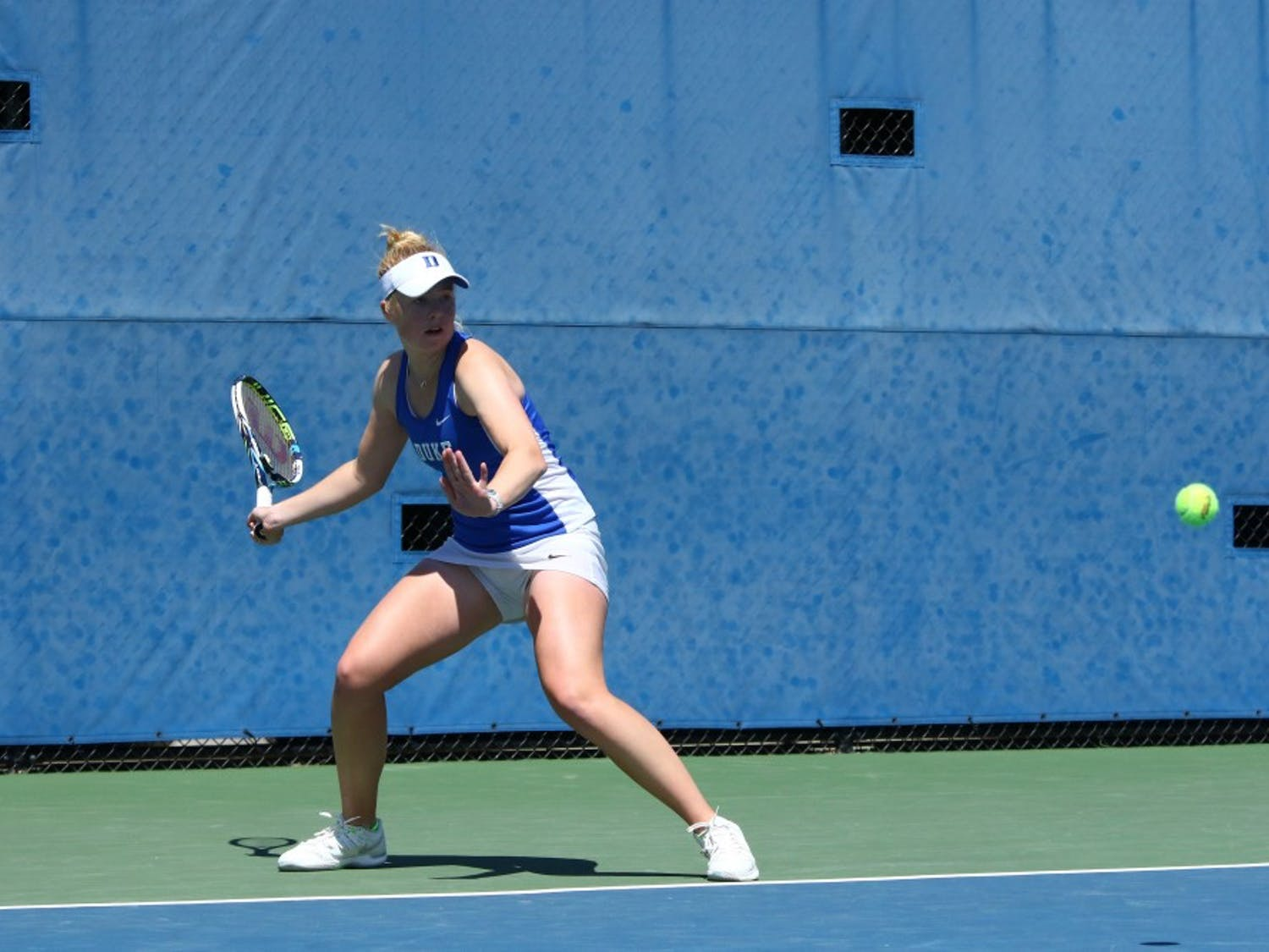 Freshman Kaitlyn McCarthy was one of five Blue Devils to close out a singles match in straight sets, dispatching No. 89 Lexi Borr 6-0, 6-2 on court two.