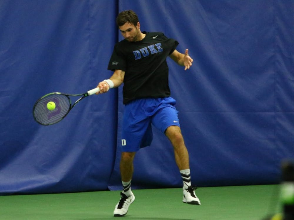Freshman Catalin Mateas clinched a Duke match victory for the first time in his career Sunday at Boston College, filling in at first singles for No. 20 Nicolas Alvarez.