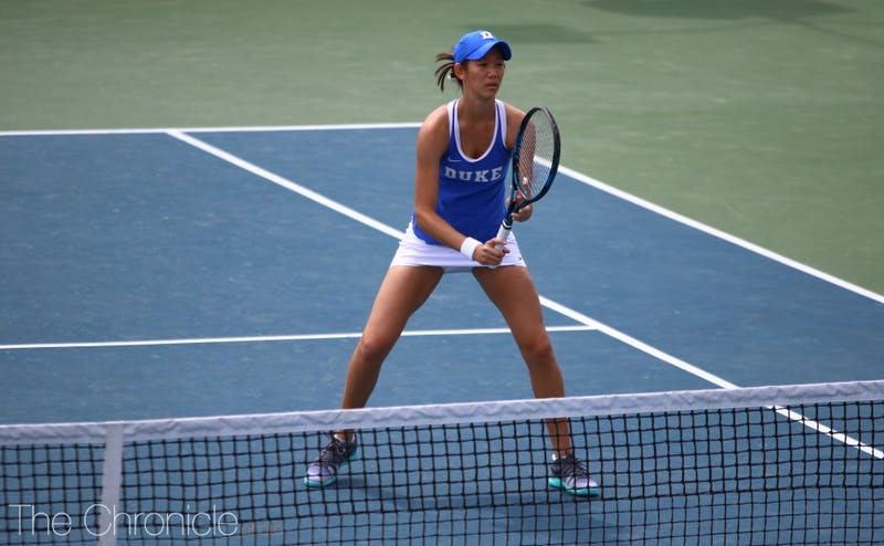 Meible Chi took over at first singles Friday with Samantha Harris recovering from a previous injury.