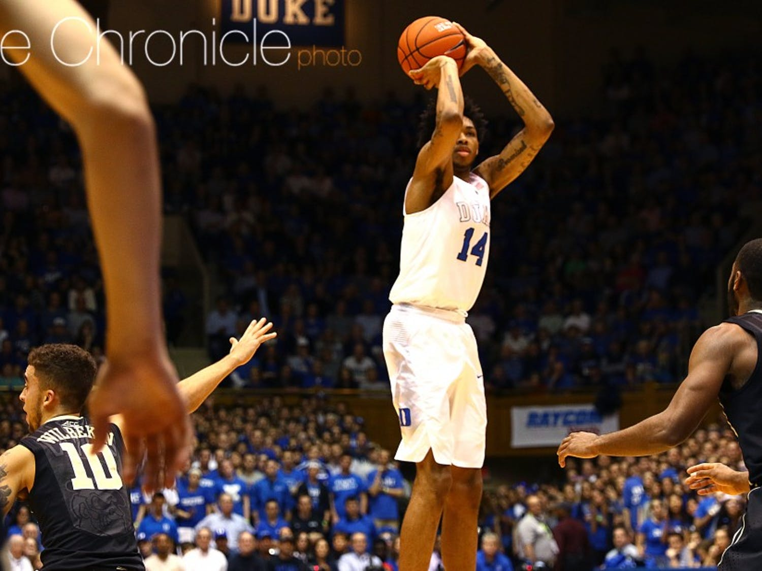 Brandon Ingram finished 6-of-17 from the field Tuesday, but finished with a double-double of 15 points and 11 rebounds.