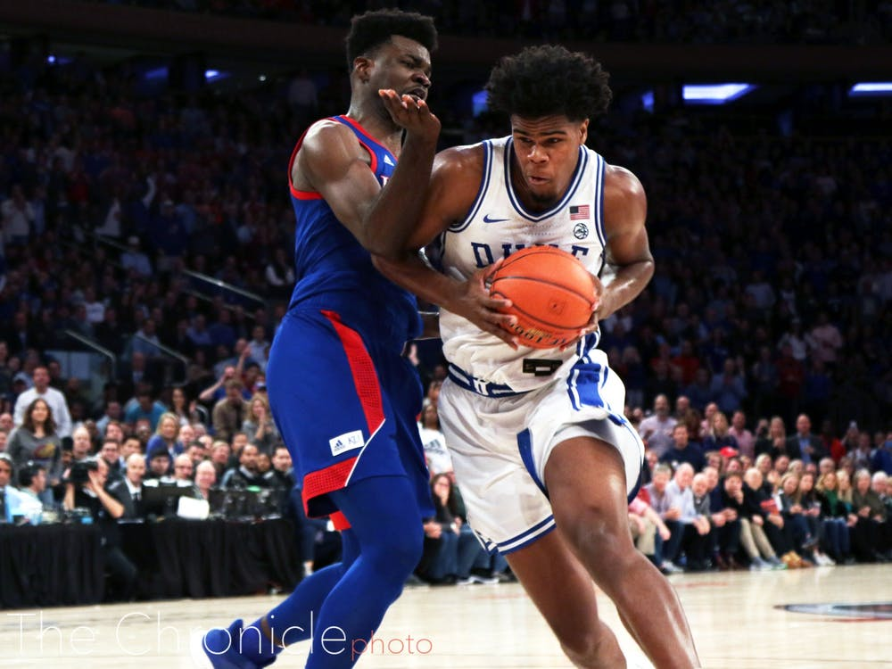 <p>Vernon Carey Jr. had a bruising night inside alongside Duke's other big men.</p>
