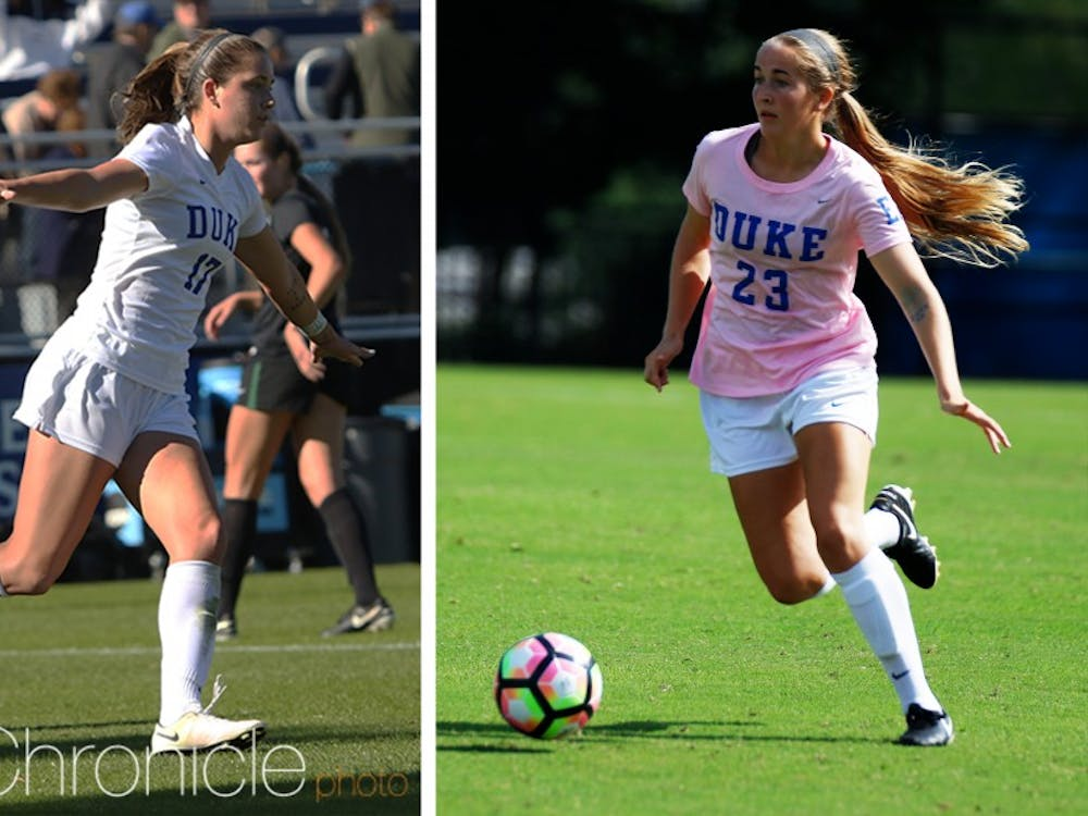 Sophomores Ella Stevens and Emma Carlson grew up playing together in Georgia and are now best friends and teammates at Duke.