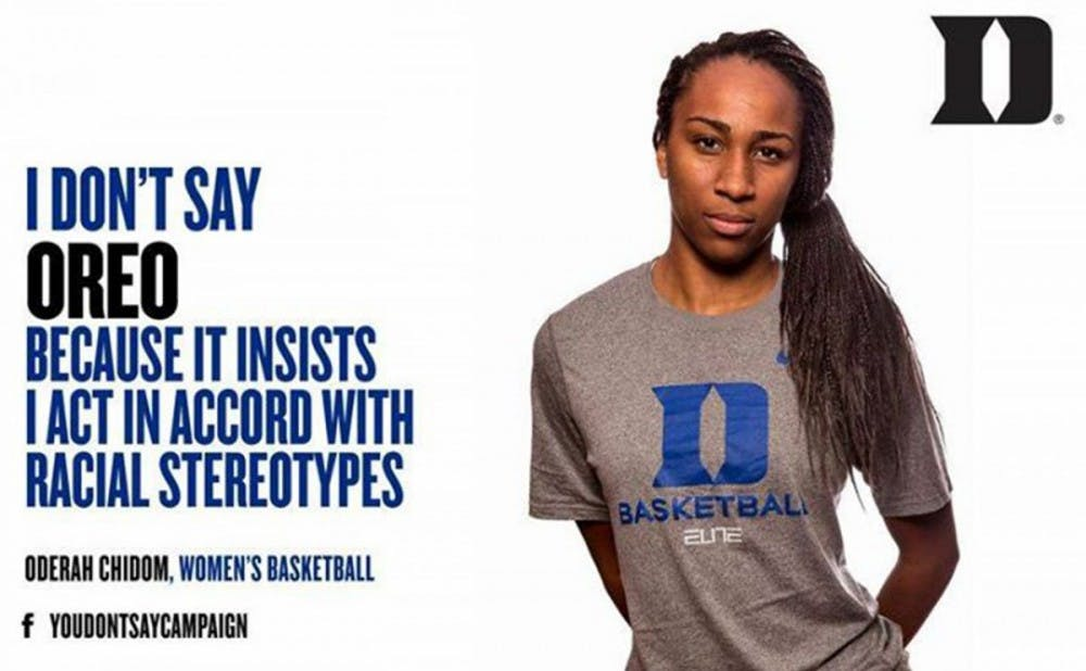 <p>The You Don't Say? campaign, which included women's basketball junior Oderah Chidom, is an example of how sports can be used as a platform to tackle larger societal issues&mdash;something especially relevant this week amid the football protests at the University of Missouri.</p>