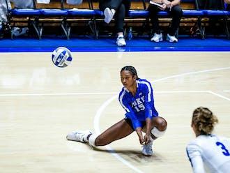 Freshman Rachel Richardson had 10 kills against the College of Charleston Saturday.