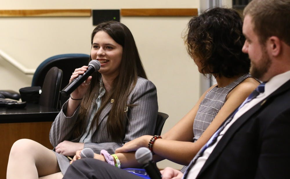 The pair of college-age elected officials spoke at a POLIS event Monday.