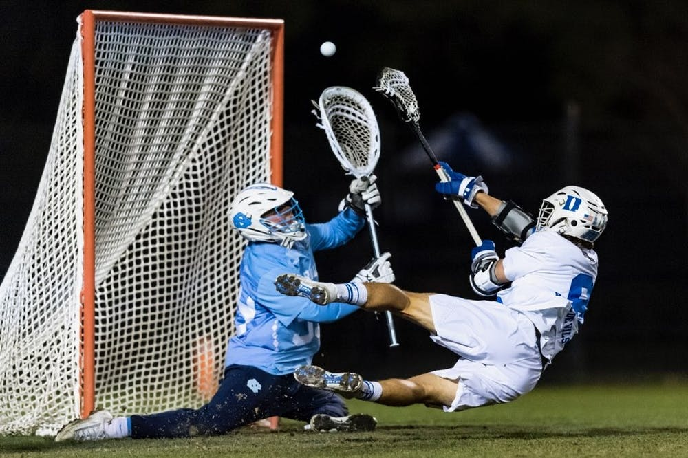 <p>Senior attackman Joe Robertson hit the diving game-winner with less than a minute to go in overtime.</p>