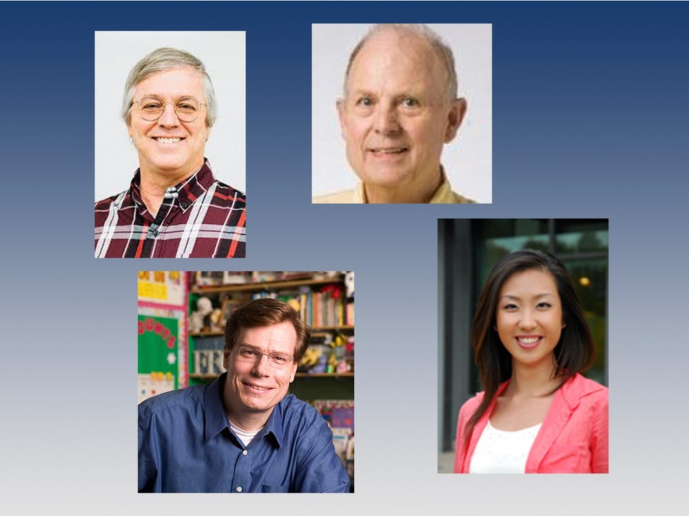 <p>From top left: Professors Gayle Boyd, Edward Tower, Thomas J. Nechyba, and Xiao Yu Wang signed an open letter opposing the reelection of President Donald Trump.</p>