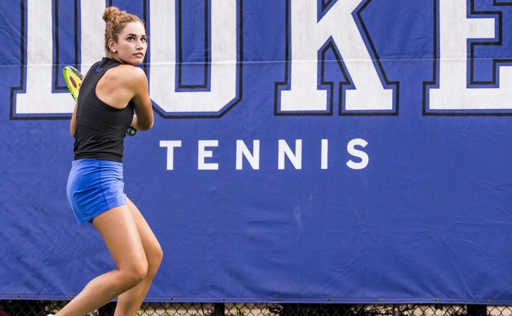 Freshman Maria Mateas has looked strong during her appearances this fall.
