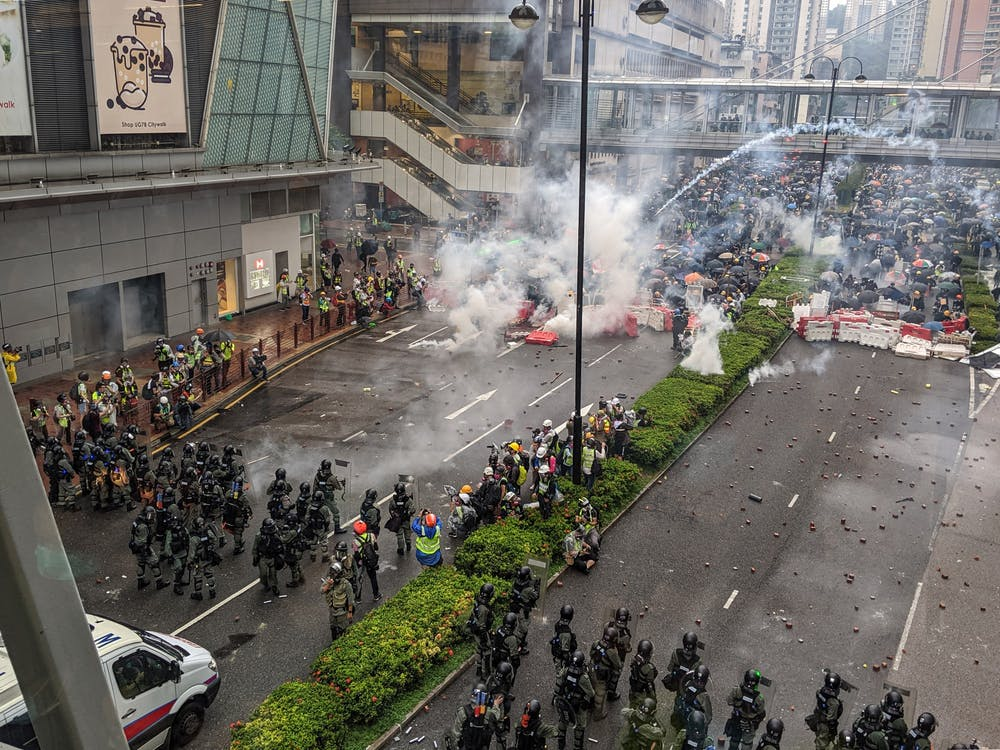 A photo of protests in Hong Kong