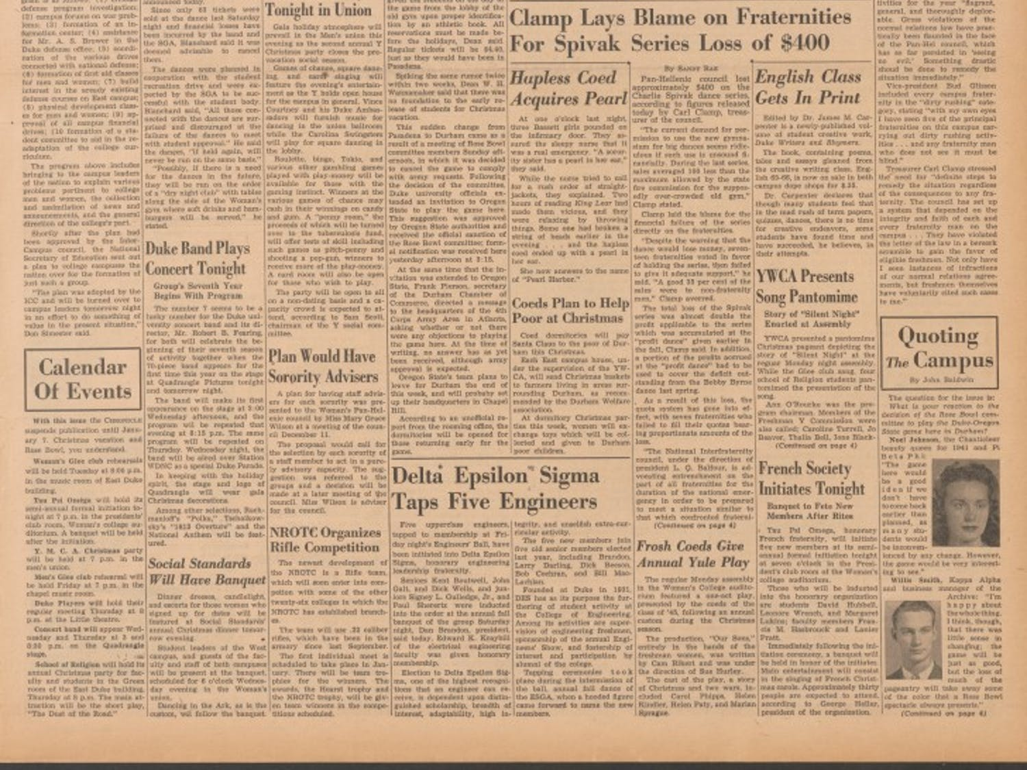 The Chronicle's cover leading up to the 1942 Rose Bowl at Duke Stadium.