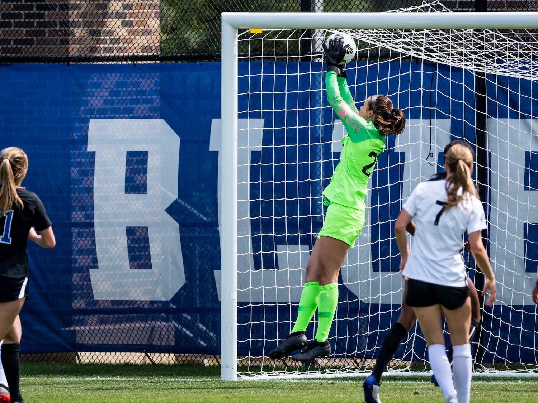 Goalkeeper Ruthie Jones had five saves against Virginia.