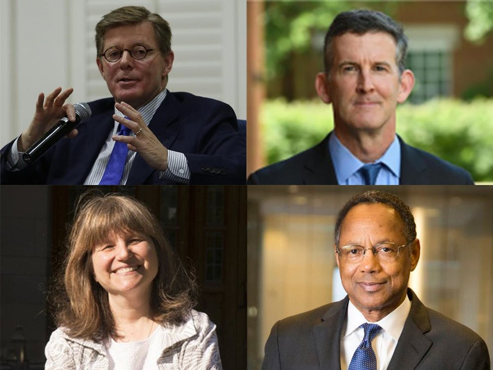 <p>(Clockwise from top left) President Vincent Price, Executive Vice President Daniel Ennis, Provost Sally Kornbluth and Chancellor for Health Affairs A. Eugene Washington participated in a Monday conversation for faculty and staff.</p>