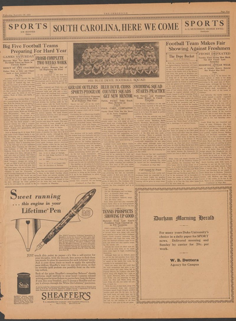 The Chronicle previewed Duke's first of 153 games under legendary head coach Wallace Wade 85 years ago.