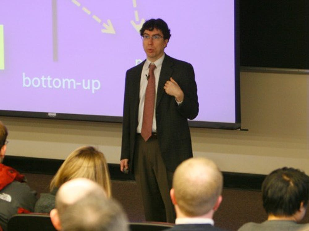 Jonathan Zittrain, law professor at Harvard University, warns against the U.S. government's censorship capabilities on the Internet during the fourth installment of the Provost's Lecture Series Wednesday night.