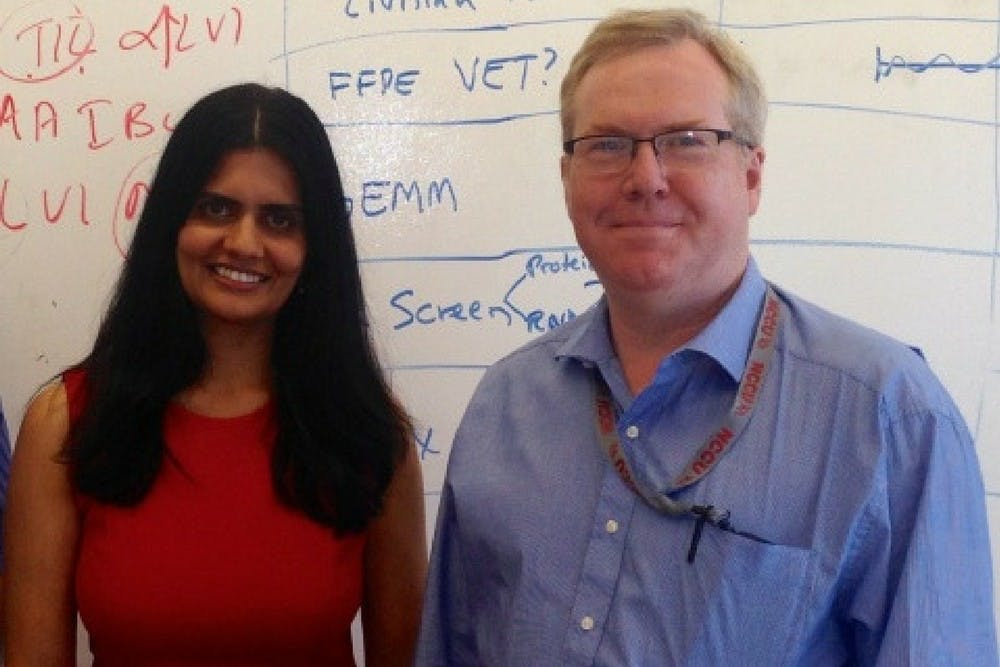 <p>Duke's Gayathri Devi (left) and NCCU's&nbsp;Kevin Williams (right) will co-lead an investigation of a&nbsp;rare form of breast cancer.</p>