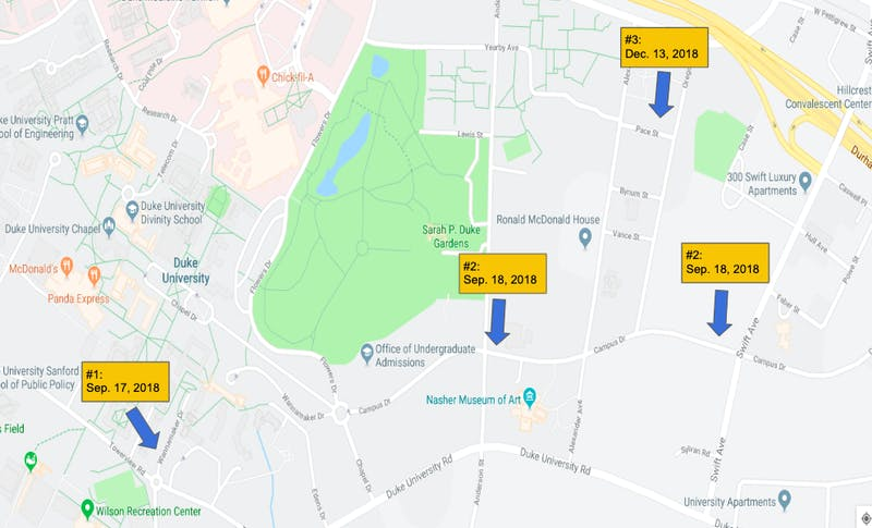 Duke University Location Map on