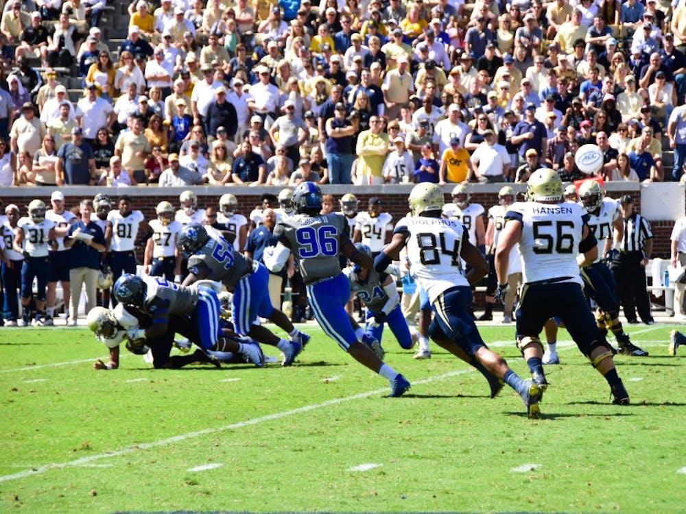 The Duke defense swarmed Georgia Tech ball carriers all game.