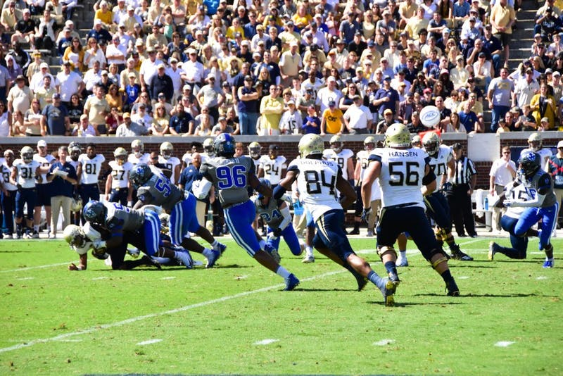 The Duke defense swarmed Georgia Tech ball carriers all game.