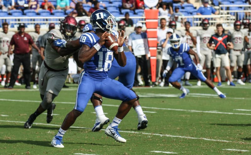 Quentin Harris threw for a career-high 202 yards and added three touchdowns Saturday.