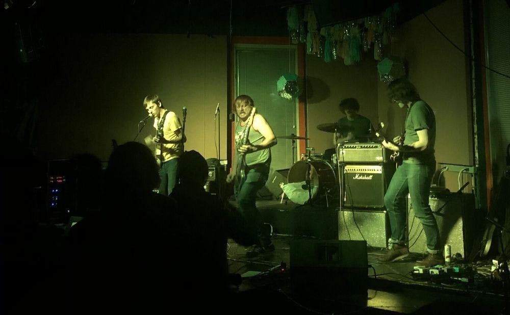 <p>Carrboro band Personality Cult performing at Coffeehouse</p>