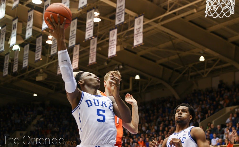 <p>How does R.J. Barrett handle the point, if at all, with Tre Jones on the sidelines?</p>