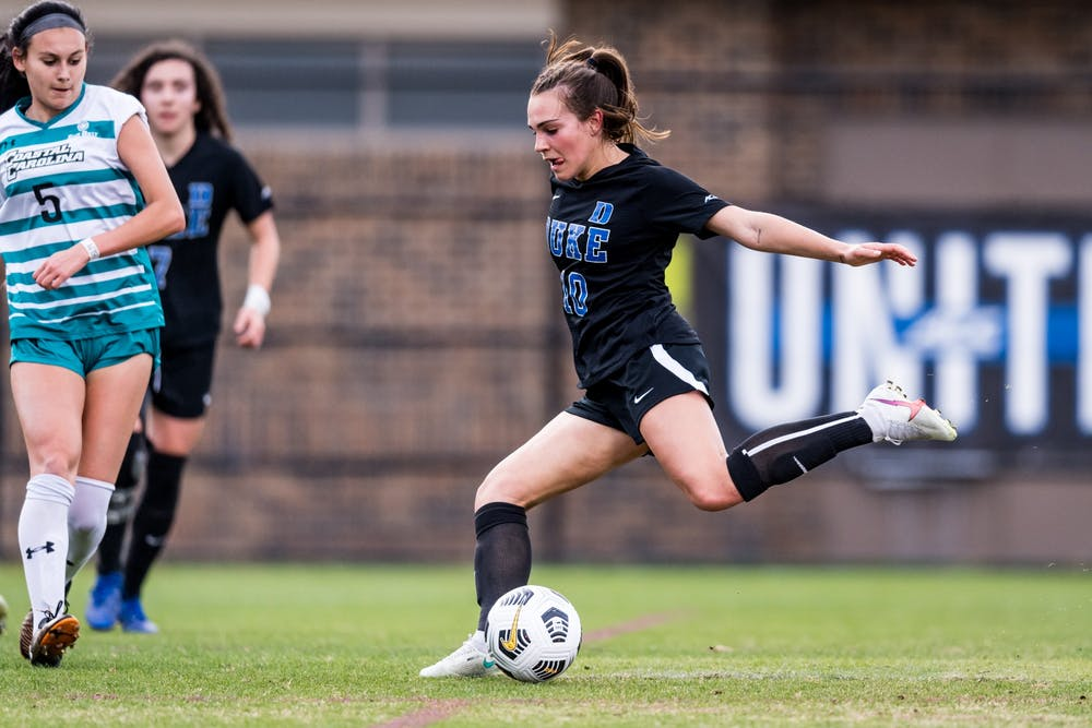 Freshman Olivia Migli's solid play early sparked the Blue Devils.