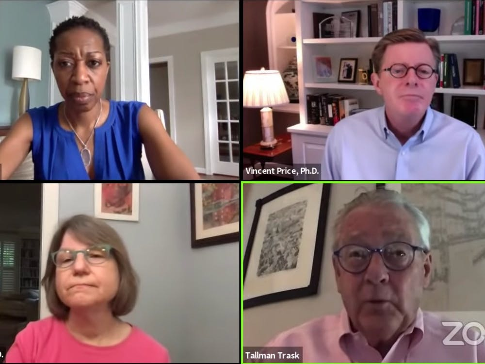 <p>President Vincent Price, Provost Sally Kornbluth and Executive Vice President Tallman Trask discussed COVID-19 and campus life in a Friday morning conversation hosted by Valerie Ashby, dean of Trinity College of Arts and Sciences.</p>