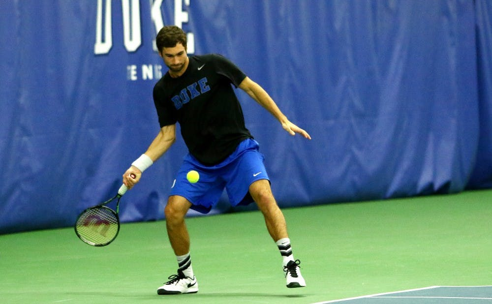 <p>Sophomore Catalin Mateas&nbsp;was one of two Blue Devils to reach the Round of 16 in this week's singles competition.&nbsp;</p>