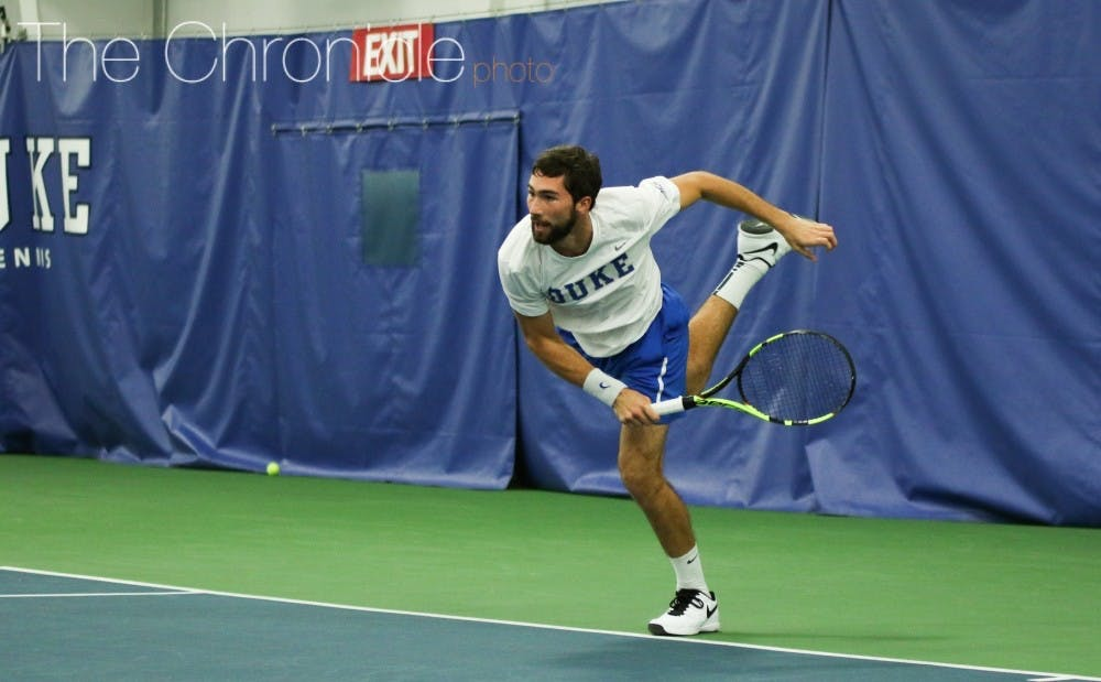 <p>Sophomore Catalin Mateas posted one of the biggest singles wins of his career in the Blue Devils' loss.&nbsp;</p>