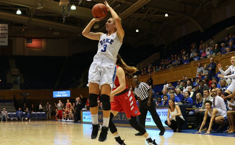 Miela Goodchild, normally Duke's strongest weapon from three, struggled to get much production against Louisville.