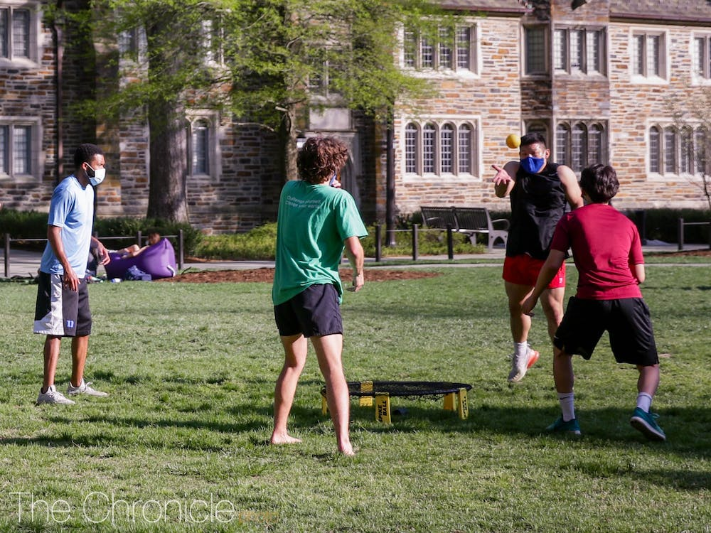 Beyond only studying for upcoming midterms and finals, students enjoyed playing stress-relieving games during their wellness days, such as spikeball, on the quad with their friends.