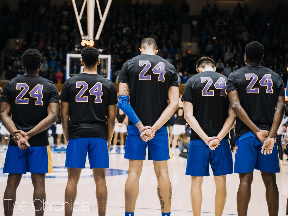 <p>Both the Panthers and Blue Devils wore warmups honoring Kobe Bryant, setting the tone for an emotional night.</p>