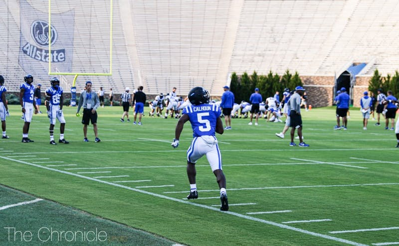 Freshman Jalon Calhoun impressed in Duke's intrasquad scrimmage, making a big play near the end of the match.