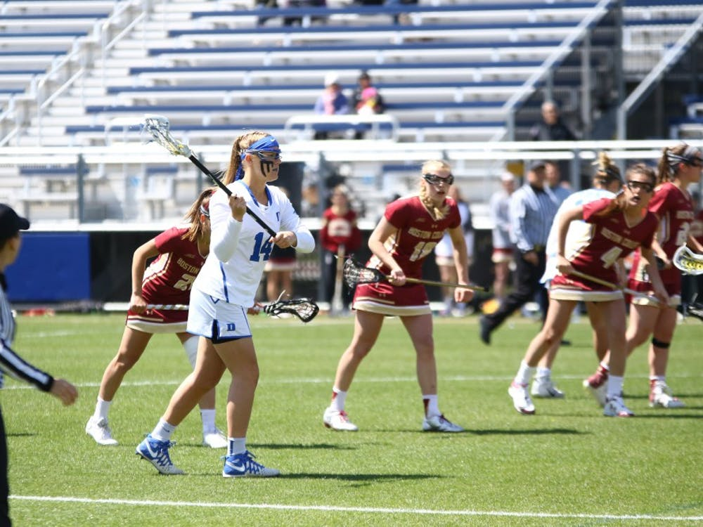 Freshman faceoff specialist Olivia Jenner scored two goals for the Blue Devils Saturday, but Duke could not hold a late two-goal lead on the road against No. 10 Notre Dame.