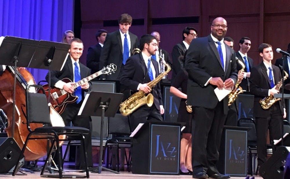 Courtesy of Liz Menges | Bobby Menges, left, performing with Duke Jazz Band.