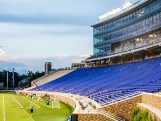 The newly-renovated Wallace Wade Stadium now features a new student section located at field level and the Blue Devil Tower, which includes suites and a new media area.
