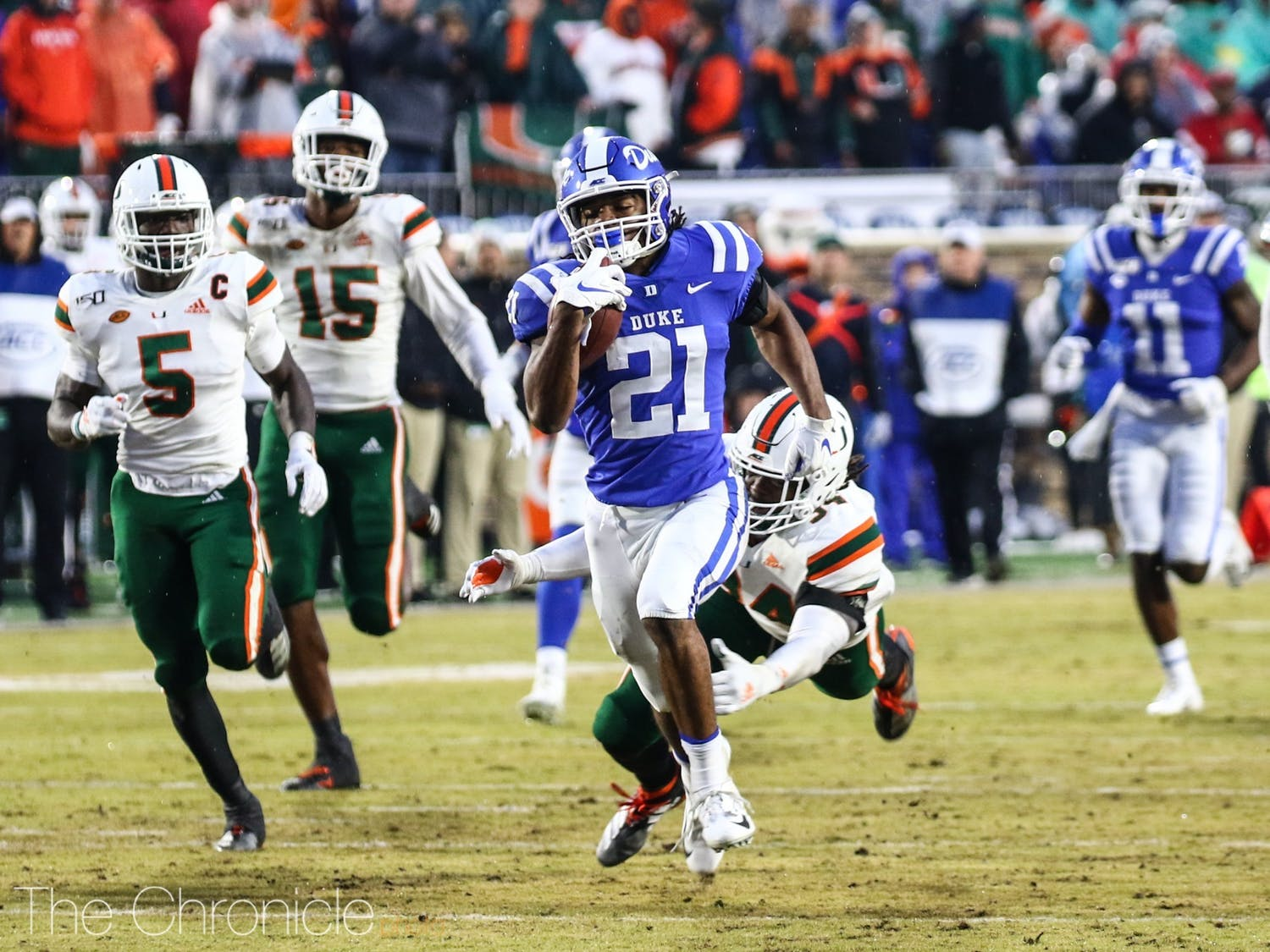 Running backs Mataeo Durant (above) and Deon Jackson have carried Duke's offense thus far.
