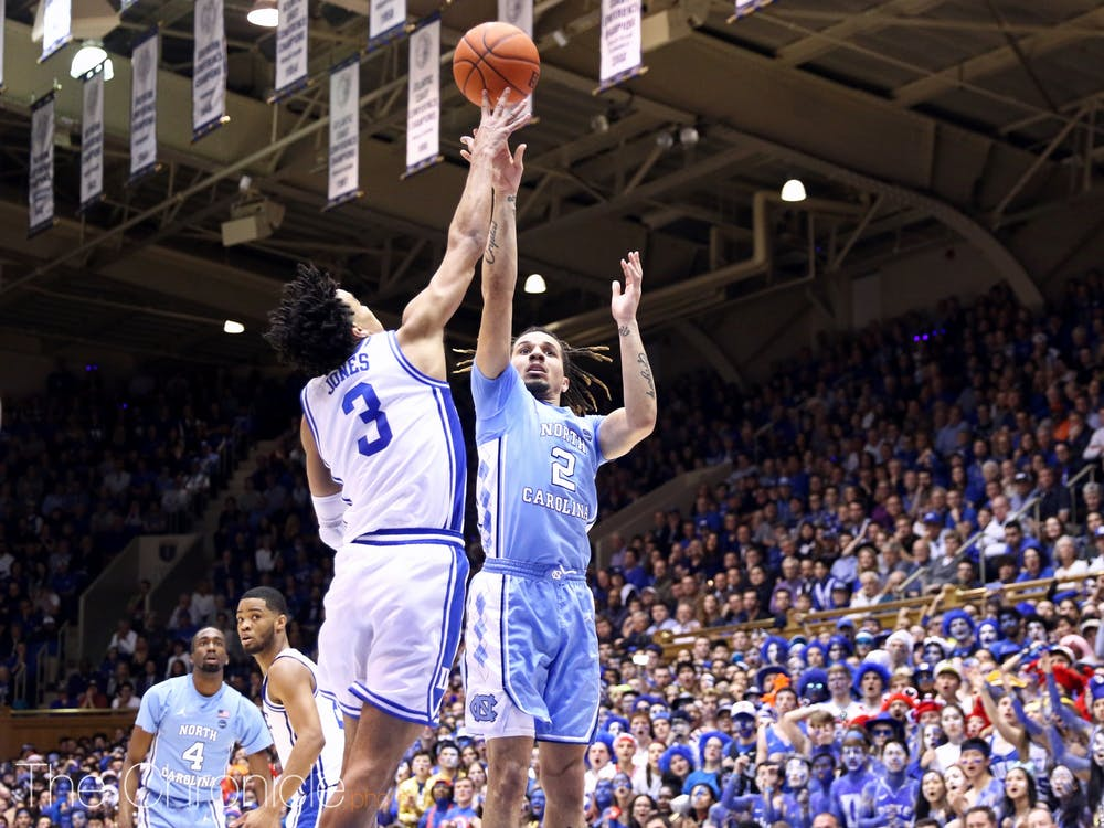 <p>In a battle of two of the nation's premier point guards, Duke's Tre Jones outplayed North Carolina's Cole Anthony.</p>